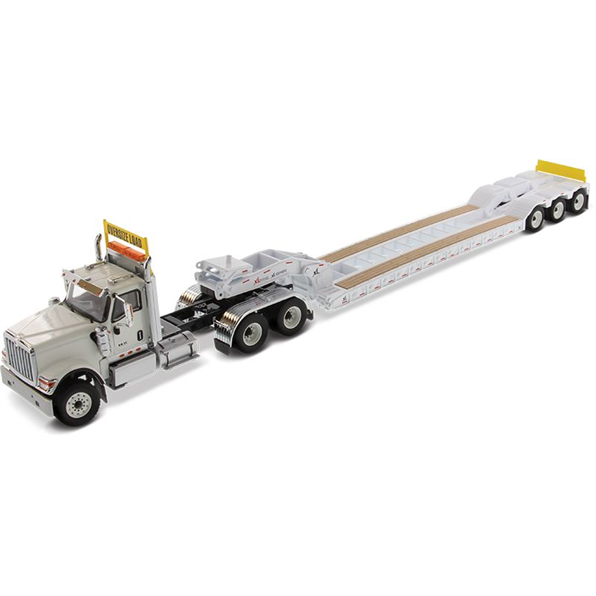 International HX520 Tandem Tractor with XL120 Low-Profile HDG Trailer (White)