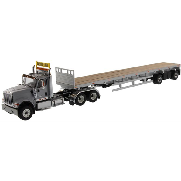 International HX520 Tandem Tractor with 53' Flatbed Trailer (Grey)